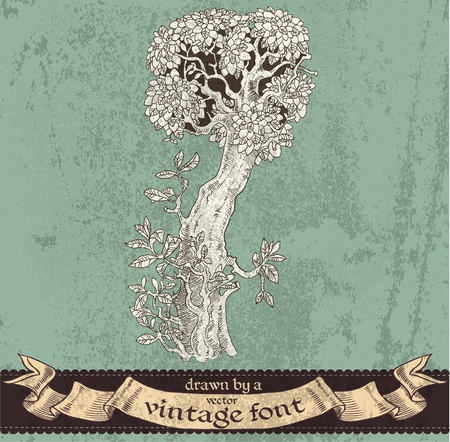 extraordinary: magic grunge forest hand drawn by a vintage font - I