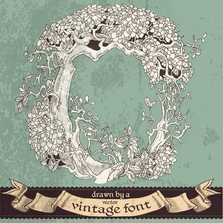 fairy tree: magic grunge forest hand drawn by a vintage font - O Illustration