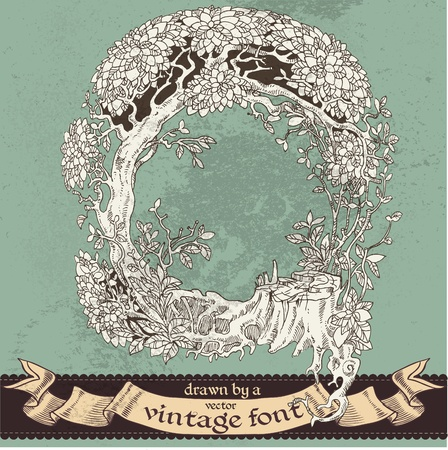magic grunge forest hand drawn by a vintage font - Q Vector
