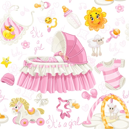 stuff toys: Seamless pattern of cribs, toys and stuff it s a girl Illustration
