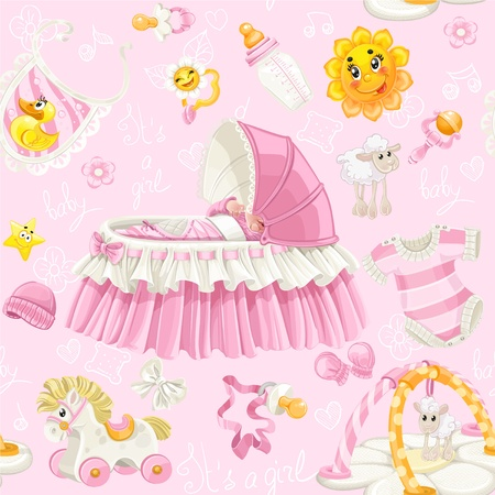 Seamless pattern of cribs, toys and stuff it s a girl on pink background