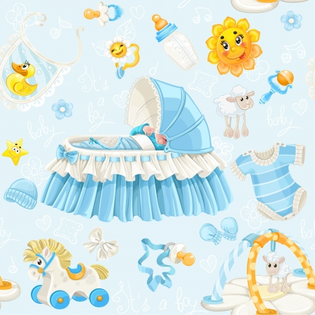 it s a boy: Seamless pattern of cribs, toys and stuff it s a boy on blue background