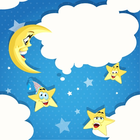 Seamless pattern of cartoon stars, moon and clouds Vector