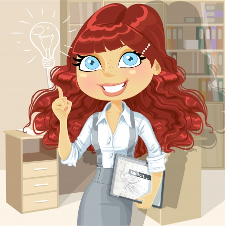 electronic tablet: Brown curly hair girl with electronic tablet inspiration idea in office Illustration