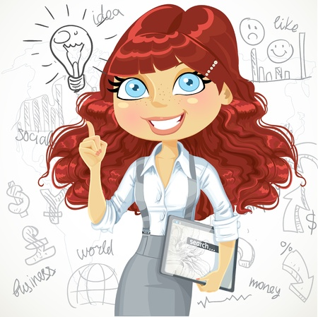electronic tablet: Cute brown curly hair girl with a electronic tablet idea inspiration on a doodle background Illustration