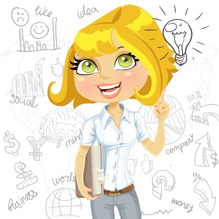 Girl with book inspiration idea on business doodles background Vector