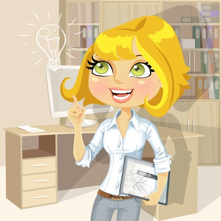 Girl with electronic tablet inspiration idea in office Stock Vector - 19927689