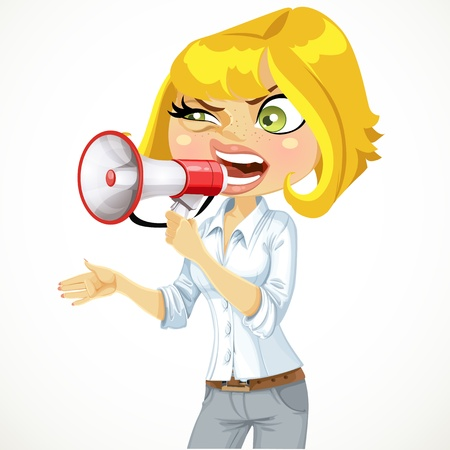 Cute girl shouts in a megaphone isolated on white background Vector