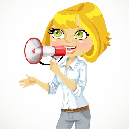 woman open mouth: Cute  girl speaks in a megaphone isolated on white background Illustration