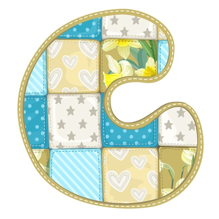 roundish: Roundish Font from quilted from multi-colored a blanket rag - letter C Illustration