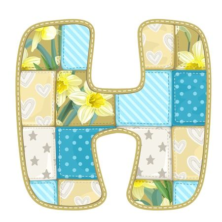 roundish: Roundish Font from quilted from multi-colored a blanket rag - letter H