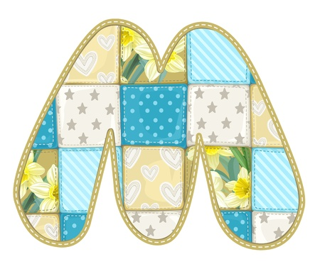 roundish: Roundish Font from quilted from multi-colored a blanket rag - letter M Illustration