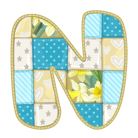 roundish: Roundish Font from quilted from multi-colored a blanket rag - letter N Illustration
