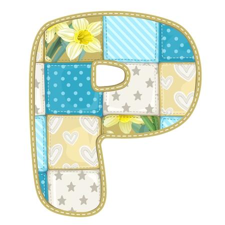 マルチカラー毛布ぼろきれ - 手紙 P からキルトから丸みを帯びたフォント