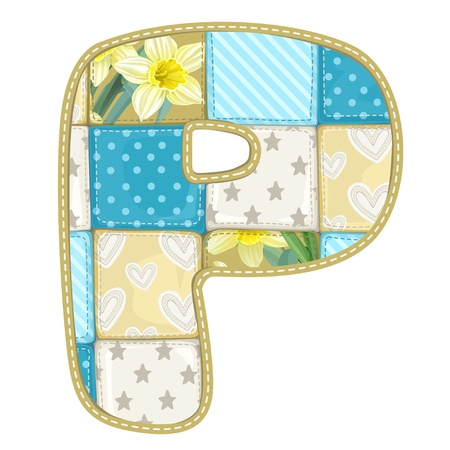 roundish: Roundish Font from quilted from multi-colored a blanket rag - letter P