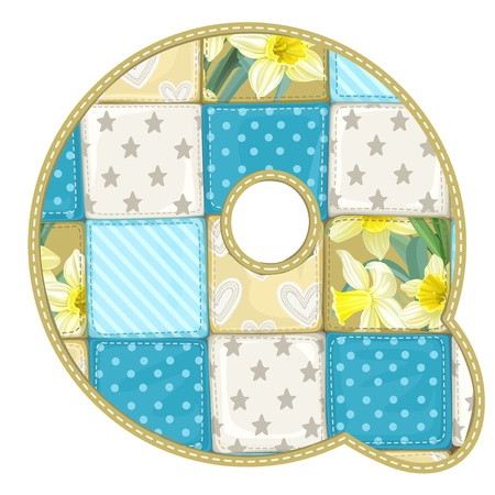 roundish: Roundish Font from quilted from multi-colored a blanket rag - letter Q