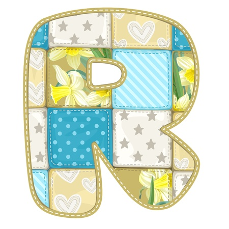 roundish: Roundish Font from quilted from multi-colored a blanket rag - letter R Illustration