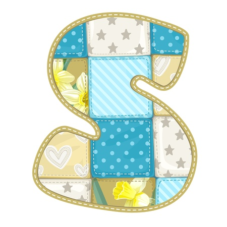 roundish: Roundish Font from quilted from multi-colored a blanket rag - letter S Illustration