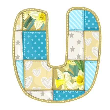 roundish: Roundish Font from quilted from multi-colored a blanket rag - letter U