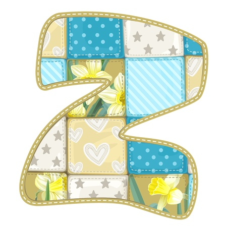 letter z: Roundish Font from quilted from multi-colored a blanket rag - letter Z