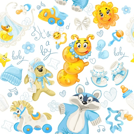 Seamless pattern of clothing, toy and stuff it Vector