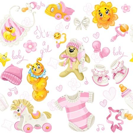 Naadloos patroon van kleding, speelgoed en spullen het is een meisje Stock Illustratie