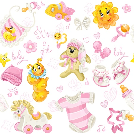 warm clothing: Seamless pattern of clothing, toy and stuff it s a girl