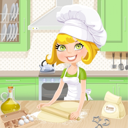 roll out: Cute blond girl baking cookies on kitchen