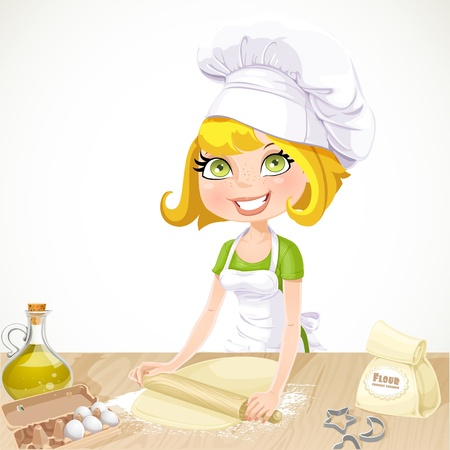 �ute blond girl baking cookies isolated on white background