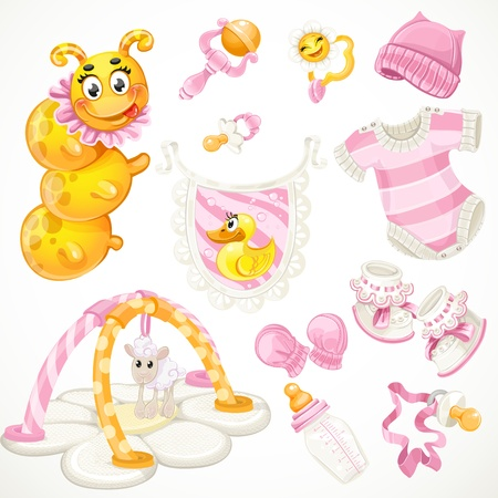 pacifier: Set of pink baby toys objects clothes and things