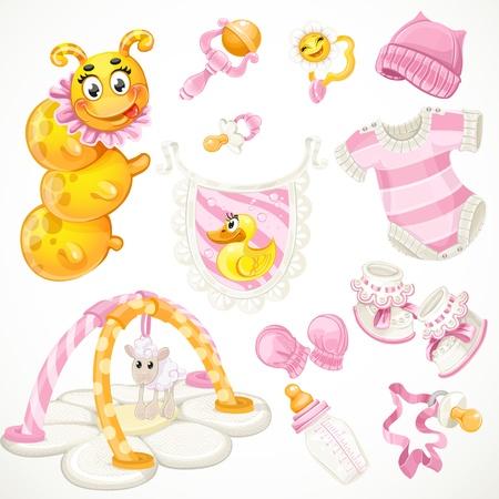 Set rosafarbene Baby-Spielzeug Objekte Kleidung und Dinge