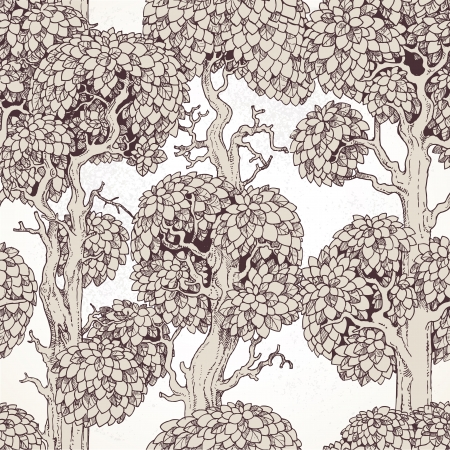 enchanted: Seamless pattern of enchanted old trees graphic draw Illustration