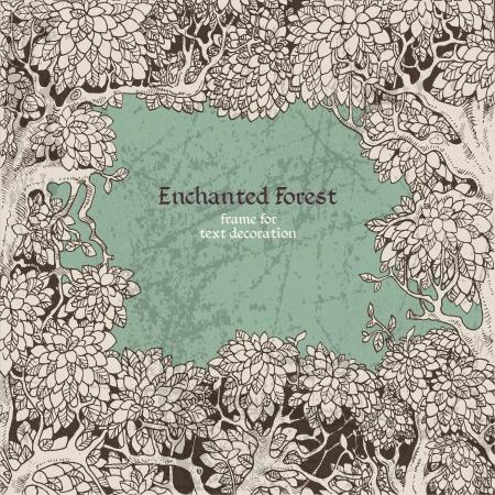 テキストの装飾の暗い妖精の森のフレーム  イラスト・ベクター素材