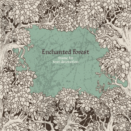 텍스트 장식 어두운 마법에 걸린 숲을위한 프레임 일러스트