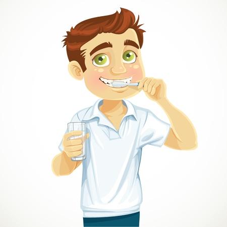 彼の白い背景で隔離の歯をブラッシング水のガラスを持つかわいい男  イラスト・ベクター素材
