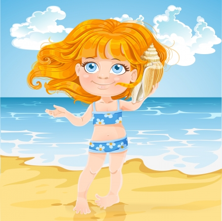 Cute little girl  listen to the sound of the sea in a big shell on a sunny beach Stock Vector - 20262358
