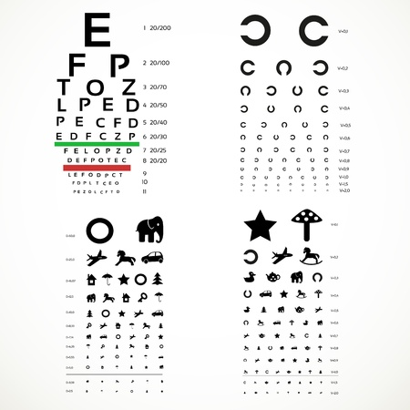 eye exam: Various versions of the table for eye tests  the adult and children Illustration