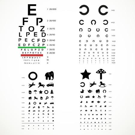 Verschillende versies van de tafel voor oog test de volwassenen en kinderen