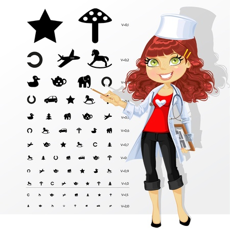 Woman doctor - ophthalmologist shows childrens table for eye tests Illustration