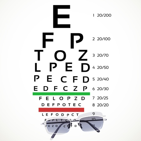 eyesight: Table for eyesight test with glasses on white background Illustration
