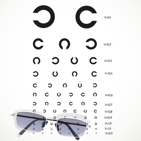 diopter: Table for eye tests with glasses on white background
