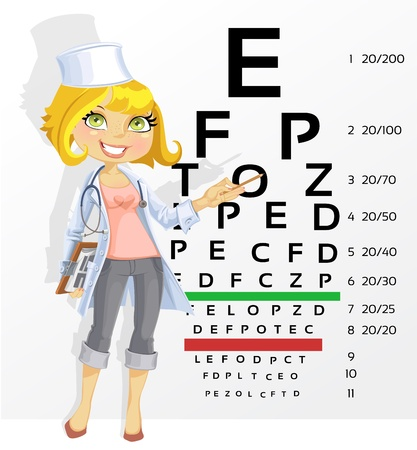 oculist: Cute woman doctor - optometrist points to the table for testing visual acuity