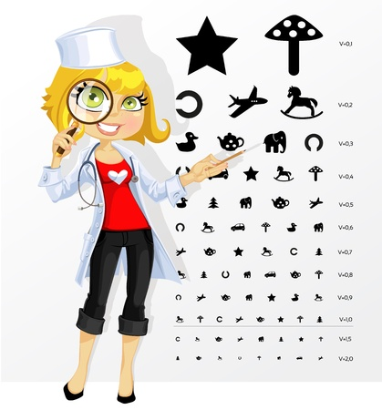 Cute woman doctor - ophthalmologist shows children's table for eye tests Vector