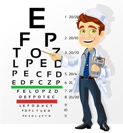 eye exams: Cute men doctor - optometrist points to the table for testing visual acuity Illustration