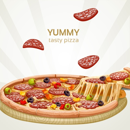 pizza dough: Yummy tasty pizza with sausage banner Illustration