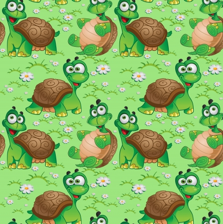 Seamless pattern with cartoon turtles on a green meadow with daisies Vector