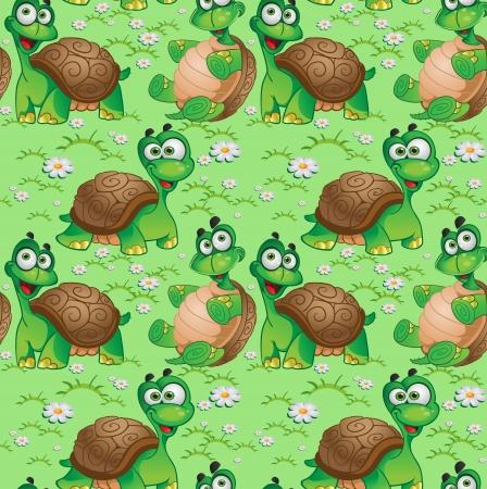Patrón sin fisuras con las tortugas de dibujos animados sobre un prado verde con margaritas