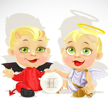 angel and devil: Baby zodiac - sign Gemini