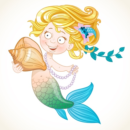 Cute little mermaid holding a shell Vector