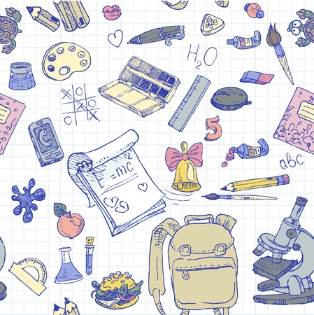 first day: Back to School color doodles seamless background  Illustration